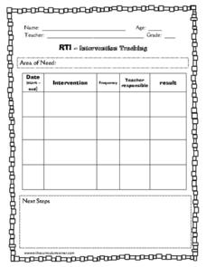 Rti intervention tracking printables template for pre k for Response to intervention templates