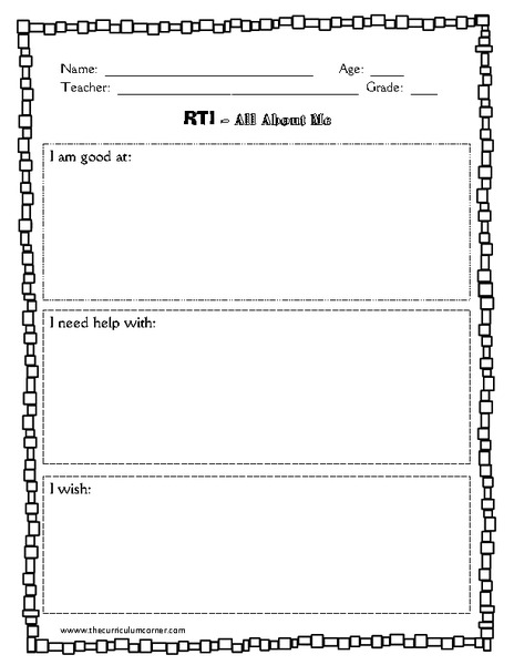 RTI- All About Me Printables & Template