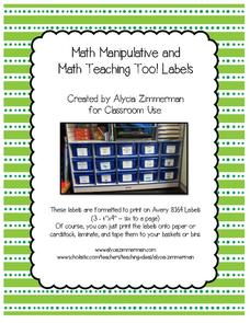 Math Manipulative and Math Teacher Tool Labels Printables & Template