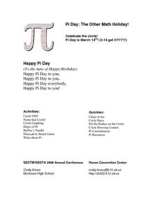 Pi Day: The Other Math Holiday! Activities & Project