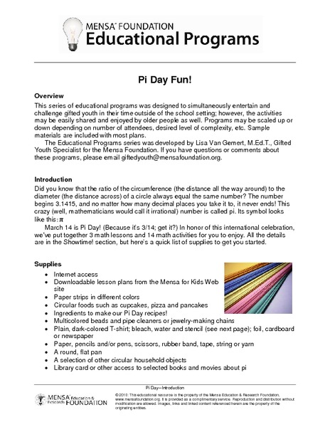 Pi Day Fun! Activities & Project