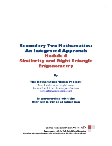 Similarity and Right Triangle Trigonometry Unit