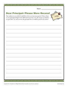 Dear Principal: Please More Recess! Writing Prompt