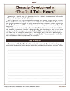 "Character Development in ""The Tell-Tale Heart"" Worksheet"