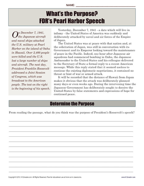 What's the Purpose? FDR's Pearl Harbor Speech Worksheet