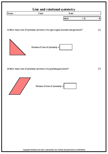 Line and Rotational Symmetry Worksheet