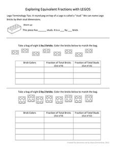 Exploring Equivalent Fractions with Lego Worksheet