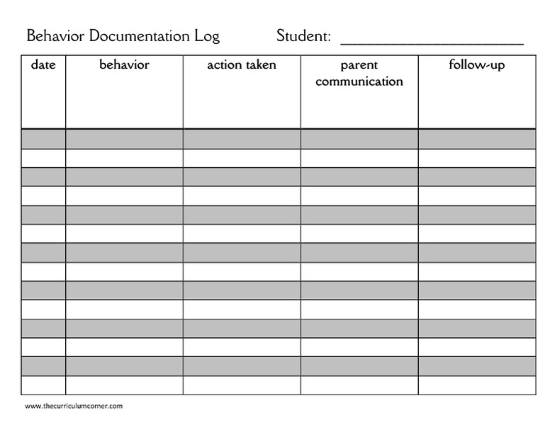 Behavior Documentation Log Kindergarten  Th Grade Printables