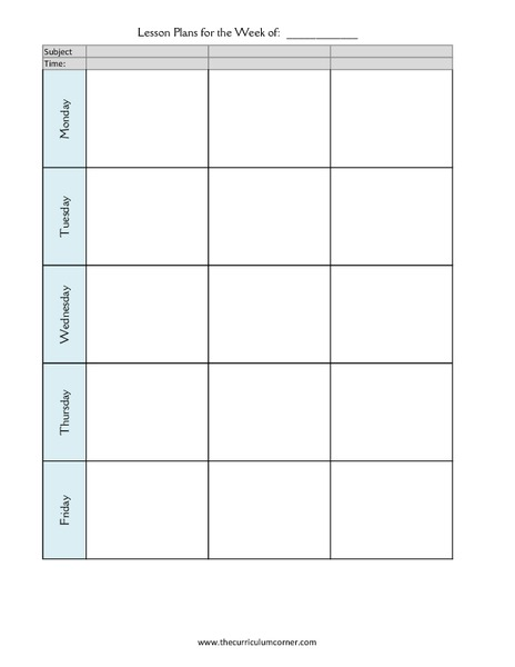 Lesson Planning Forms Printables & Template