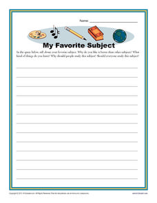 My Favorite Subject Printables & Template