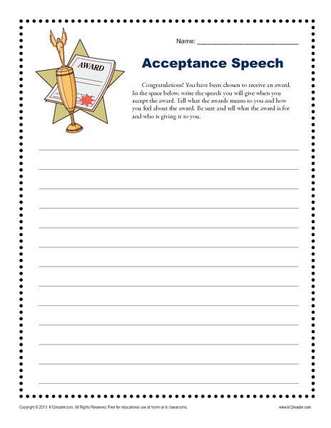 Acceptance Speech Writing Prompt