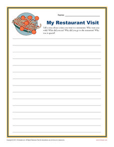 My Restaurant Visit Writing Prompt