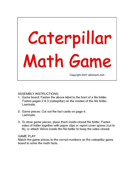 Caterpillar Math Game Printables & Template