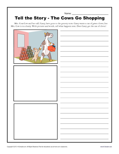Tell the Story - The Cows Go Shopping Writing Prompt