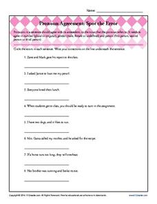 Pronoun Agreement: Spot the Error Worksheet