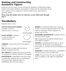 Geometric Figures: Teaching Masters and Study Link Masters Activities & Project