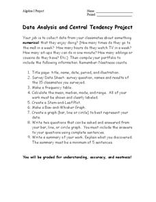 Data Analysis and Central Tendency Project Activities & Project