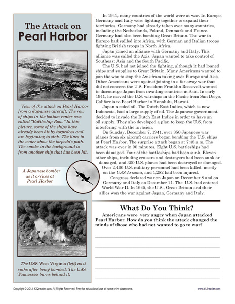 The Attack on Pearl Harbor Worksheet