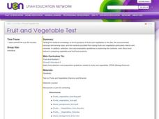 Fruit and Vegetable Test Lesson Plan