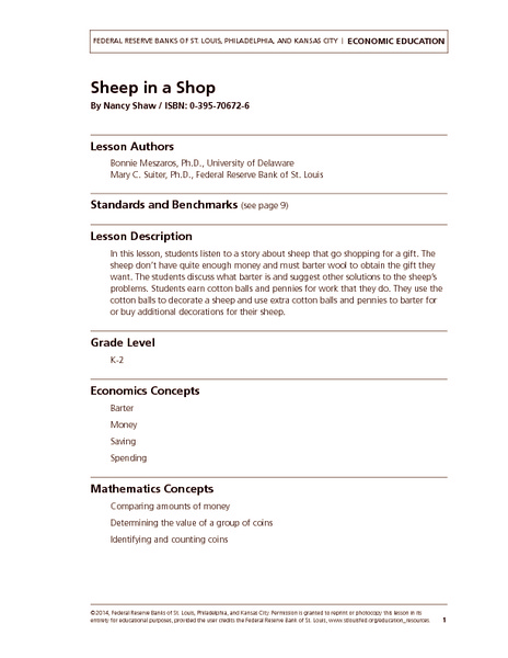 Sheep in a Shop Lesson Plan