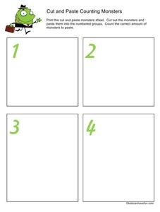 Cut and Paste Counting Monsters Worksheet