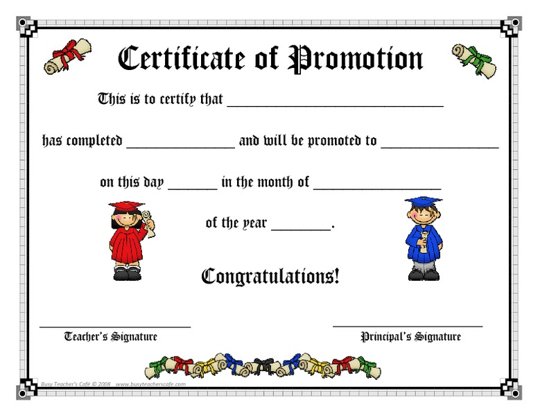 certificate of promotion printables template for pre k 2nd grade