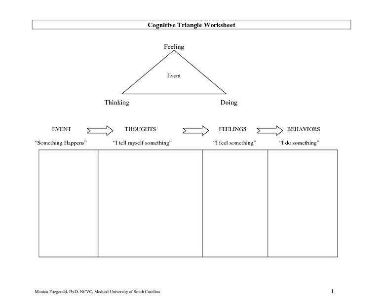 Cognitive Triangle Worksheet 7th 12th Grade Worksheet – Health Triangle Worksheet