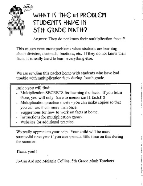 Multiplication Secrets Handouts & Reference