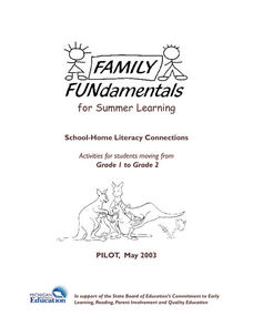 Family Fundamentals for Summer Learning Activities & Project