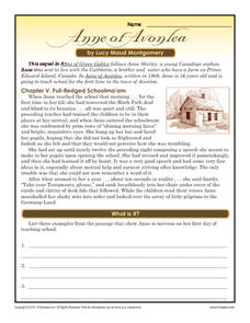 Anne of Avonlea Worksheet