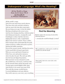 Shakespeare's Language: What's the Meaning? Worksheet