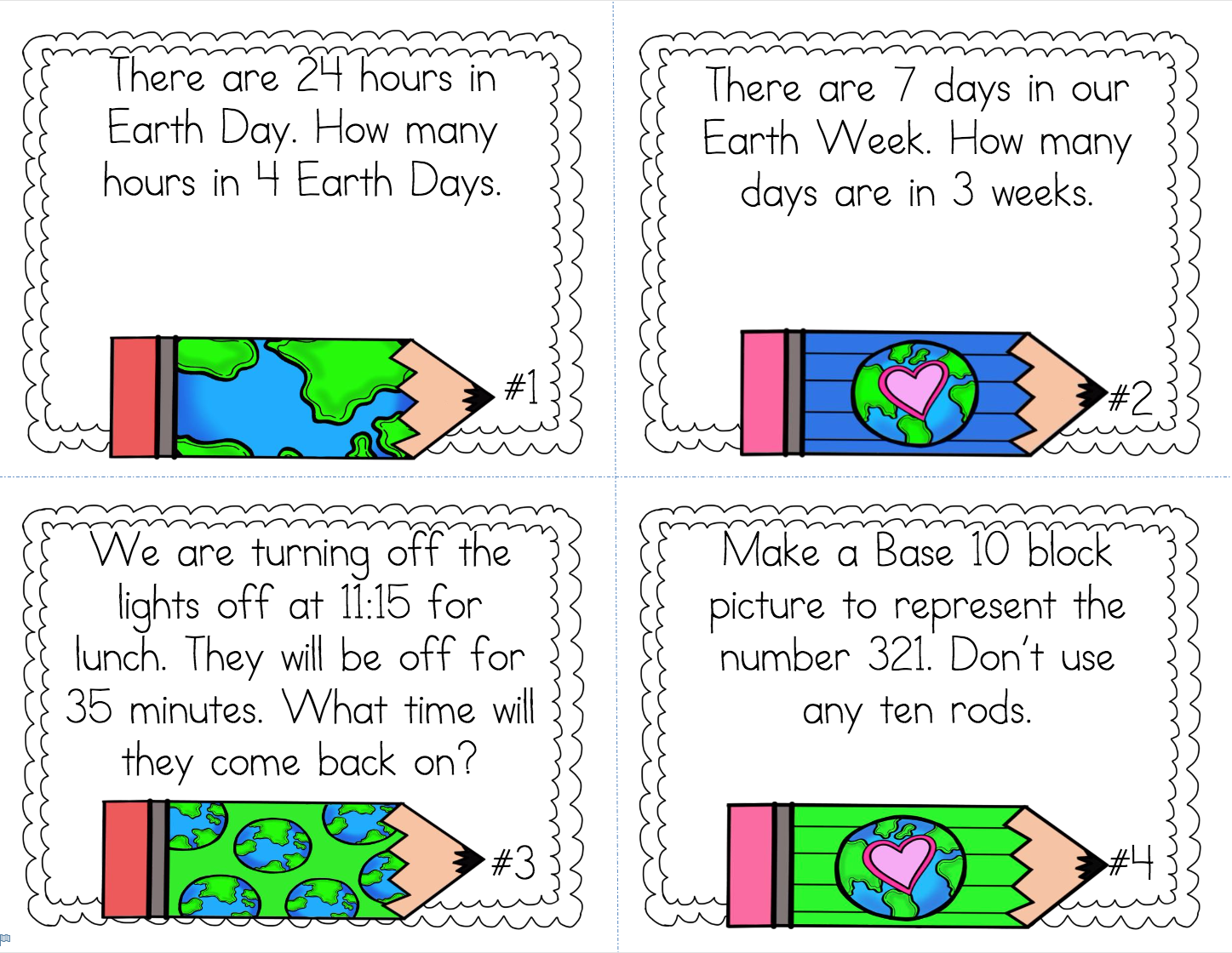 Earth Day Math Printables & Template