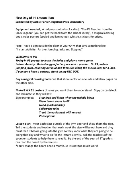 first day of pe lesson plan kindergarten 5th grade lesson plan lesson planet