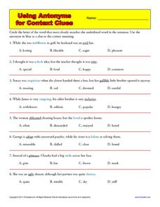 Using Antonyms for Context Clues Worksheet