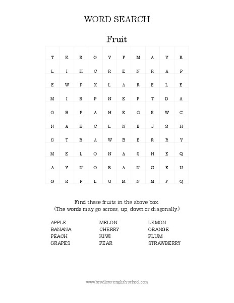 Fruit Word Search Worksheet