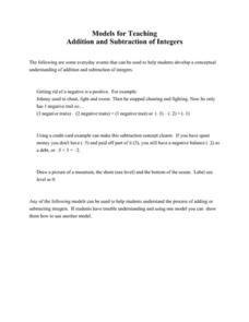 Models for Teaching Addition and Subtraction of Integers Lesson Plan