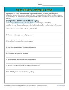 Noun Clauses: Acting as a Noun Worksheet