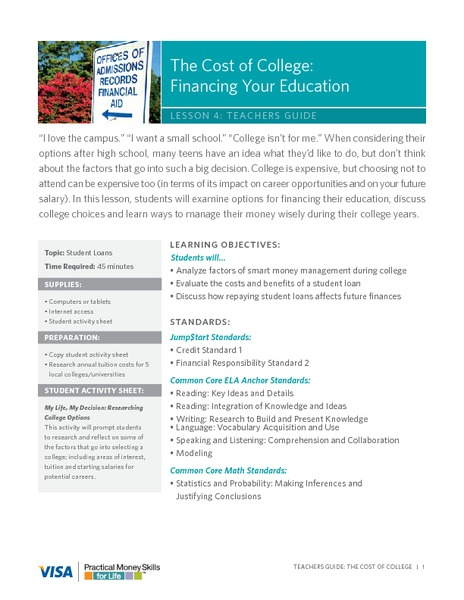 The Cost of College: Financing Your Education Lesson Plan