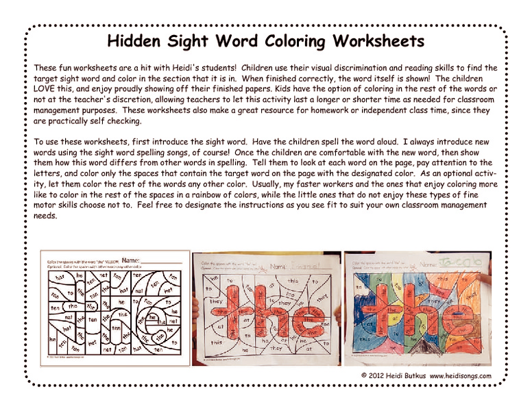 Hidden Sight Word Coloring Worksheets Worksheet