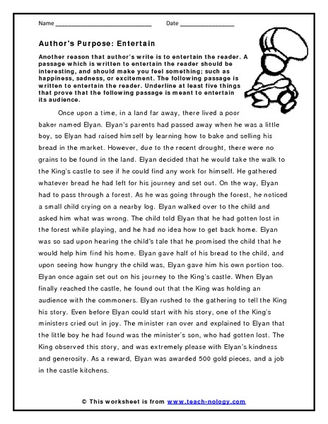 Author S Purpose Entertain Worksheet For 3rd 5th Grade