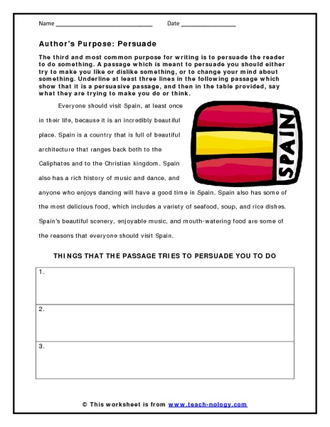 Author's Purpose: Persuade Graphic Organizer