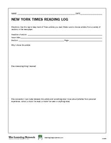 New York Times Reading Log Worksheet