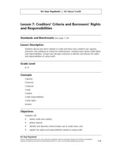 Creditors' Criteria and Borrowers' Rights and Responsibilities Lesson Plan