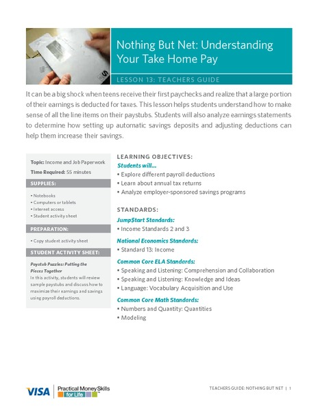 Nothing But Net: Understanding Your Take Home Pay Lesson Plan
