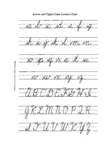 Lower and Upper Case Cursive Chart Worksheet