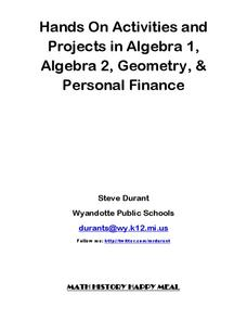 Hands On Activities and Projects in Algebra 1, Algebra 2, Geometry, & Personal Finance Activities & Project