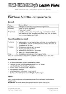 Past Tense Activities - Irregular Verbs Lesson Plan