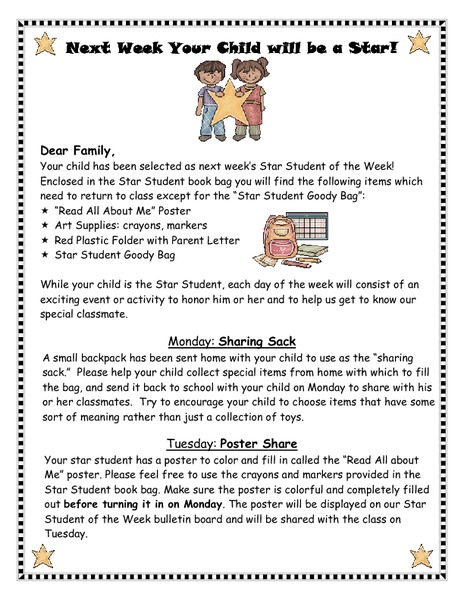 Star Student Of The Week Letter Printables Amp Template For