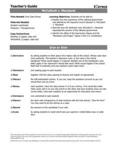 McCulloch v. Maryland Lesson Plan