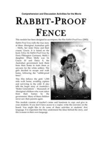 Comprehension and Discussion Activities for the Movie Rabbit-Proof Fence Worksheet